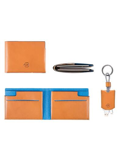Piquadro BagMotic gift box with man's wallet and keychain, Blue - ACBOX11BM/BLU