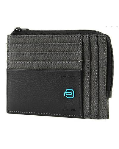 Piquadro P16 Zipper coin pouch with document holder and credit card slots, Classy - PU1243P16/CX