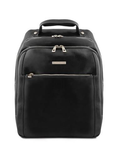 Tuscany Leather Phuket - Zaino porta notebook in pelle 3 scomparti Nero - TL141402/2