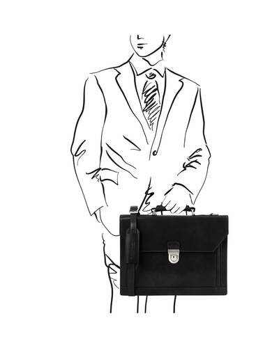 Tuscany Leather Cremona - Leather briefcase 3 compartments Black - TL141732/2
