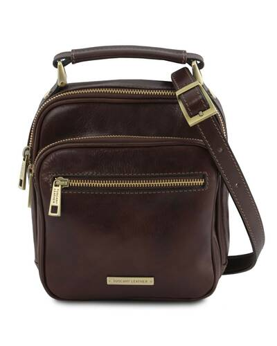 Tuscany Leather - Paul - Leather Crossbody Bag Dark Brown - TL141916/5