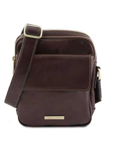 Tuscany Leather - Larry - Leather Crossbody Bag Dark Brown - TL141915/5