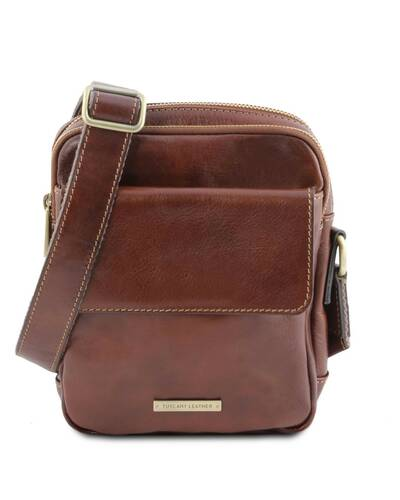 Tuscany Leather - Larry - Leather Crossbody Bag Brown - TL141915/1