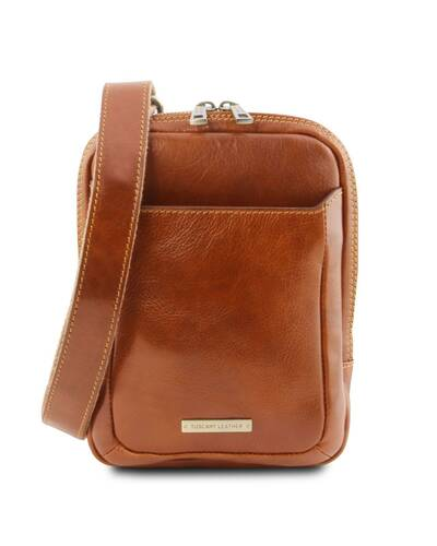 Tuscany Leather - Mark - Leather Crossbody Bag Honey - TL141914/3