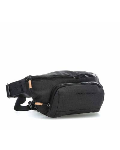 Piquadro Blade Leather and fabric fanny pack, Black - CA4450BL/N