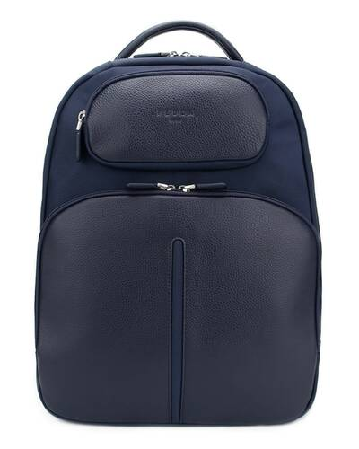 "Fedon 1919 - Web - Leather and nylon laptop backpack 13"" , Blue - MZ1930006/BLU"