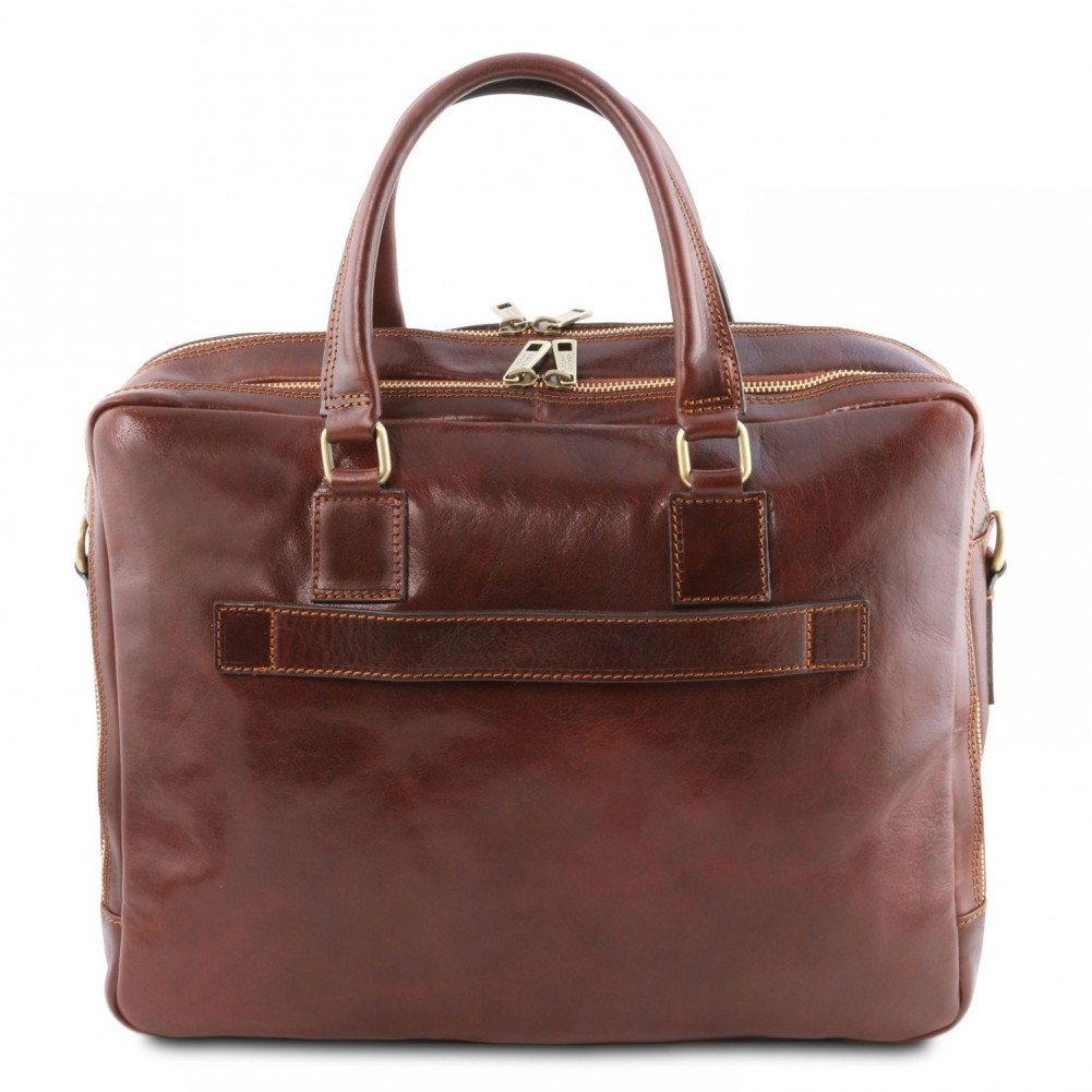 Tuscany Leather Urbino Leather laptop briefcase 2 compartments with front pocket Black - TL141894/2
