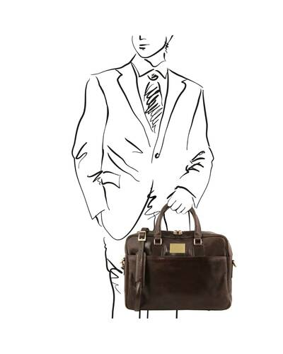 Tuscany Leather Urbino Leather laptop briefcase 2 compartments with front pocket Dark Brown - TL141894/5