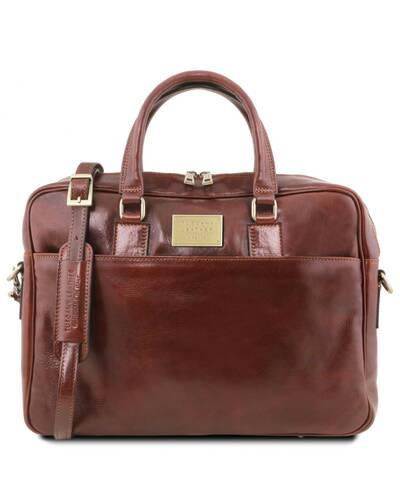 Tuscany Leather Urbino Leather laptop briefcase 2 compartments with front pocket Brown - TL141894/1