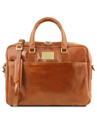 Tuscany Leather Urbino Leather laptop briefcase 2 compartments with front pocket Honey - TL141894/3