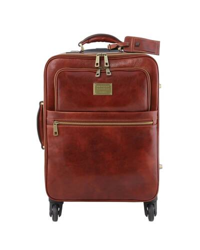 Tuscany Leather TL Voyager Trolley verticale in pelle con 4 ruote Marrone - TL141911/1