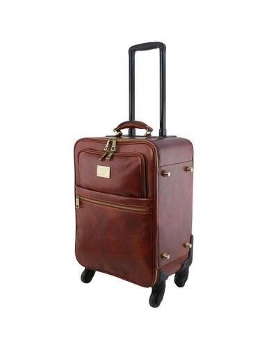 Tuscany Leather TL Voyager 4 Wheels vertical leather trolley Black - TL141911/2