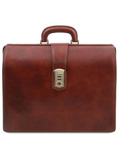 Tuscany Leather Canova Leather Doctor bag briefcase 3 compartments Brown - TL141826/1