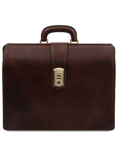 Tuscany Leather Canova Leather Doctor bag briefcase 3 compartments Dark Brown - TL141826/5