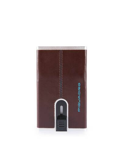 Piquadro Blue Compact wallet with sliding system and RFID anti-fraud protection, Mahogany - PP4891B2R/MO
