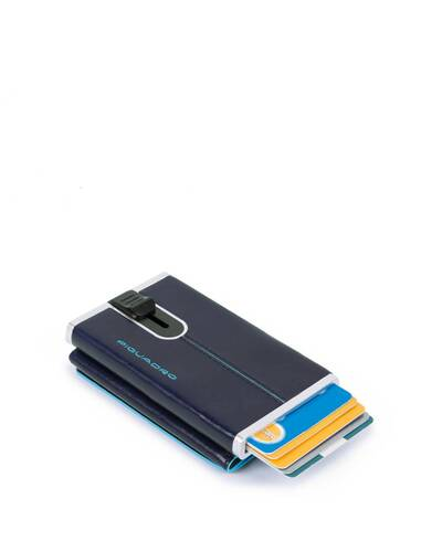 Piquadro Blue Compact wallet with sliding system and RFID anti-fraud protection, Dark Blue - PP4891B2R/BLU