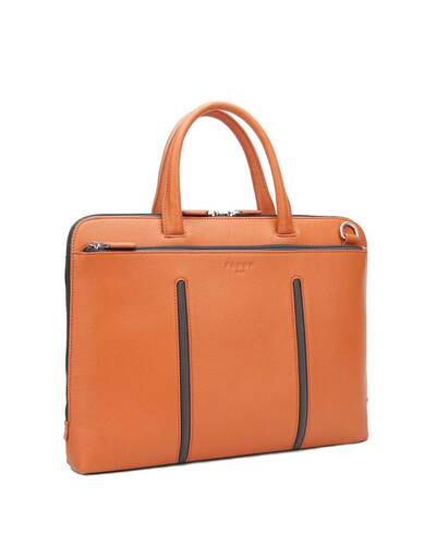 "Fedon 1919 - Web - Leather and nylon slim briefcase for 15"" laptop, Orange - MB1930004/AR"