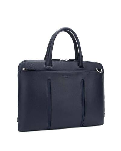 "Fedon 1919 - Web - Leather and nylon slim briefcase for 15"" laptop, Blue - MB1930004/BLU"