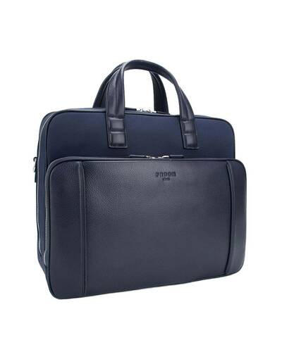 "Fedon 1919 - Dimon - Leather and nylon briefcase for 13"" laptop, Blue - MB1930002/BLU"