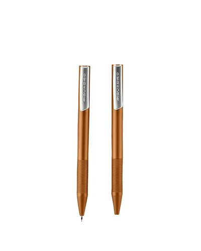 "Piquadro ""Stationery"" kit ballpoint pen + mechanical pencil with leather pouch, Orange - WR2730P3/AR"