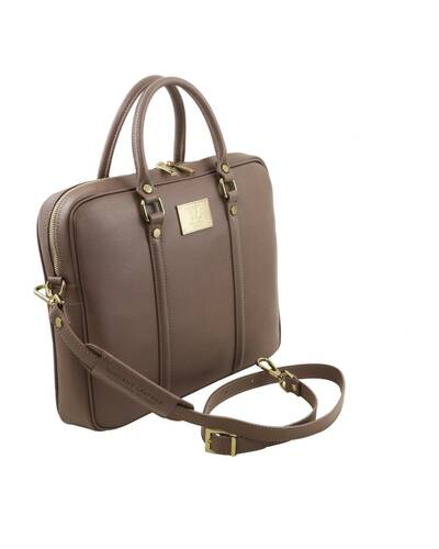 Tuscany Leather Prato - Exclusive Saffiano leather laptop case Dark Taupe - TL141626/97