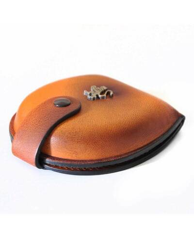 Pratesi Coin purse in genuine leather - B060 Bruce Cognac