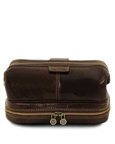 Tuscany Leather Patrick Leather toilet bag Dark Brown - TL141717/5