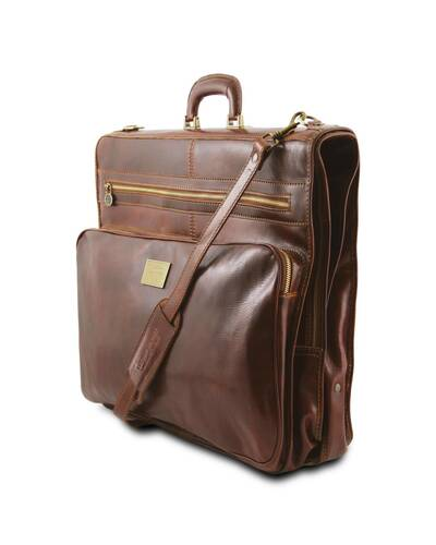 Tuscany Leather - Papeete - Porta abiti in pelle con tascone davanti Marrone - TL3056/1