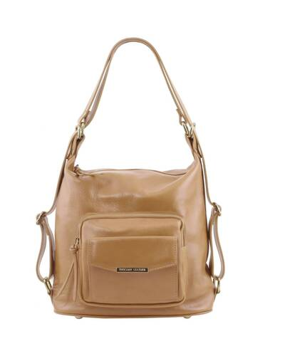 Tuscany Leather TL Bag - Leather convertible bag Taupe - TL141535/129