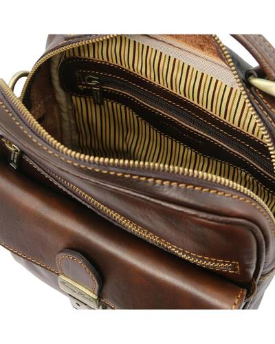 Tuscany Leather - Brian - Leather shoulder bag for man Dark Brown - TL141978/5