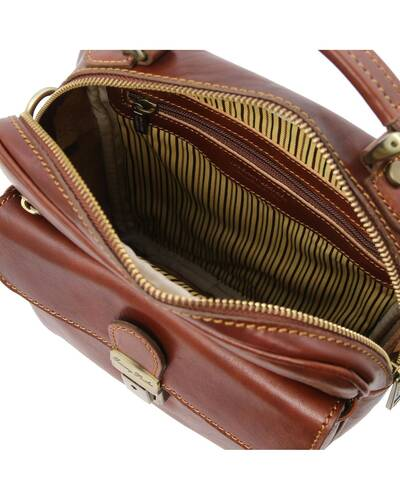Tuscany Leather - Brian - Leather shoulder bag for man Brown - TL141978/1