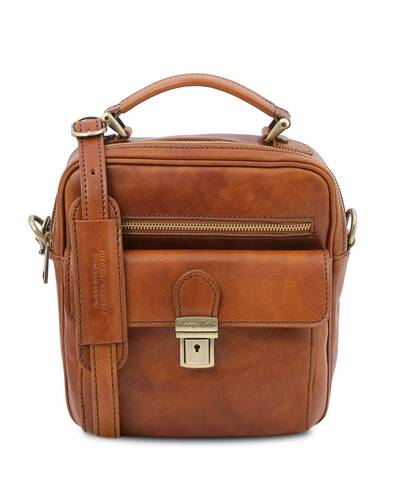 Tuscany Leather - Brian - Leather shoulder bag for man Honey - TL141978/3