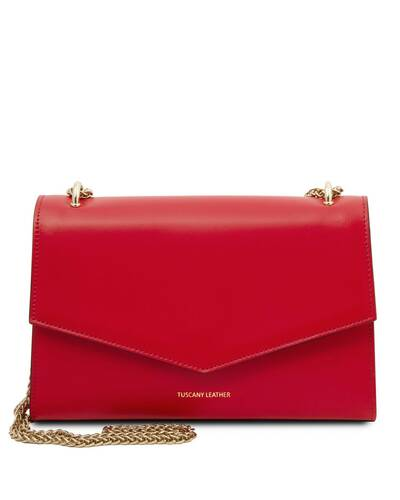 Tuscany Leather Fortuna - Leather clutch with chain strap Lipstick Red - TL141944/120
