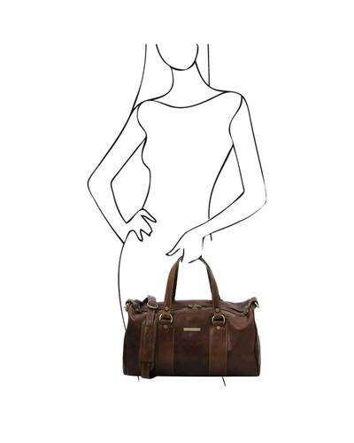 Tuscany Leather - Lucrezia - Leather maxi duffle bag Dark Brown - TL141977/5