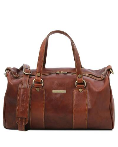 Tuscany Leather - Lucrezia - Leather maxi duffle bag Brown - TL141977/1