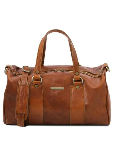 Tuscany Leather - Lucrezia - Leather maxi duffle bag Honey - TL141977/3
