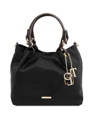 Tuscany Leather TL KeyLuck - Soft leather shopping bag Black - TL141940/2
