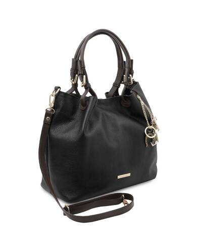 Tuscany Leather TL KeyLuck - Borsa shopping in pelle morbida Nero - TL141940/2