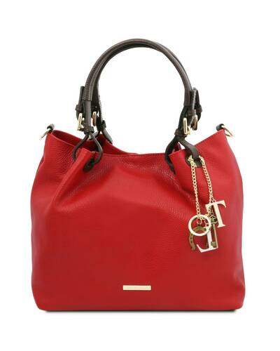 Tuscany Leather TL KeyLuck - Soft leather shopping bag Lipstick Red - TL141940/120