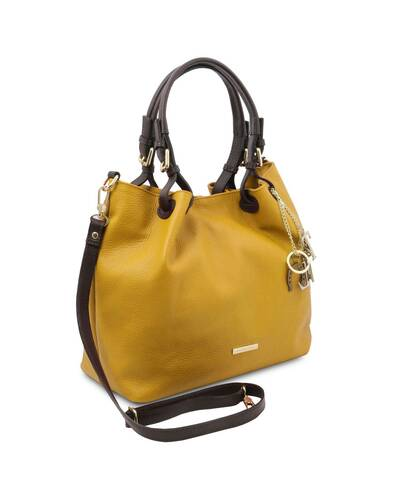 Tuscany Leather TL KeyLuck - Soft leather shopping bag Mustard - TL141940/104