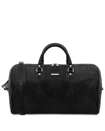 Tuscany Leather - Oslo - Travel leather duffle bag - Weekender bag Black - TL141913/2