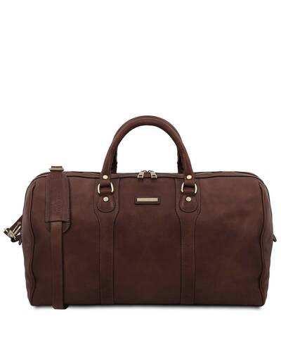 Tuscany Leather - Oslo - Travel leather duffle bag - Weekender bag Dark Brown - TL141913/5