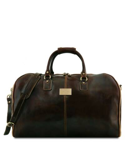 Tuscany Leather Antigua - Travel leather duffle/Garment bag Dark Brown - TL141538/5