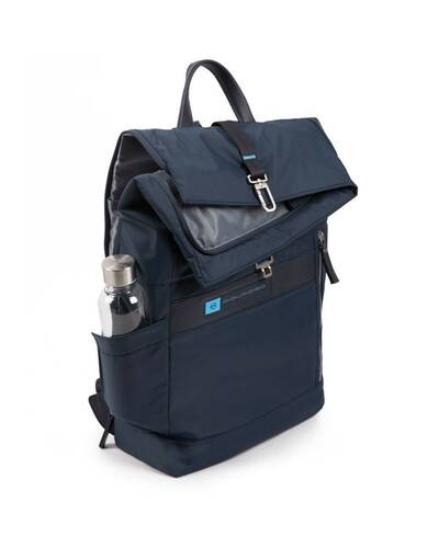 Piquadro PQ-Bios Roll top PC backpack in regenerated nylon with shockabsorbing protection, Blue - CA4451BIO/BLU