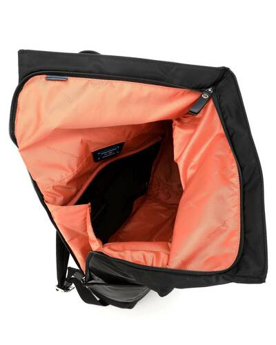 Piquadro PQ-Bios Roll top PC backpack in regenerated nylon with shockabsorbing protection, Black - CA4451BIO/N