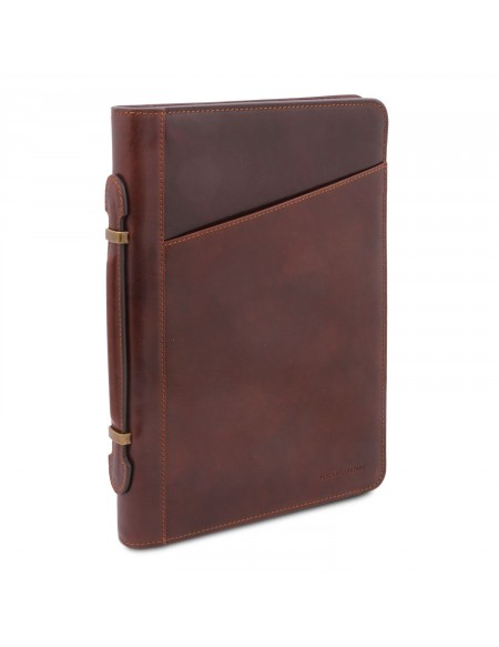 Tuscany Leather Claudio - Exclusive leather document case with handle Dark Brown - TL141404/5