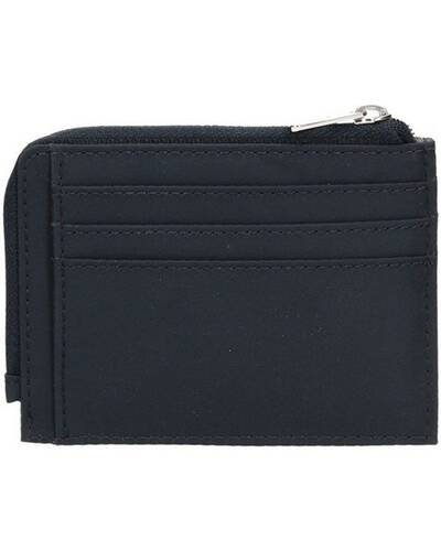 Piquadro PQ-Bios Zipper coin pouch in regenerated nylon with document holder and credit card slots, Blu - PP4822BIO/BLU