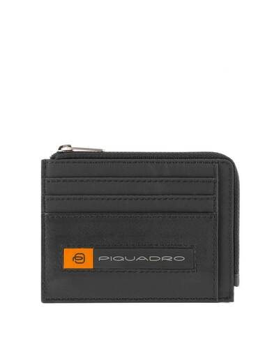 Piquadro PQ-Bios Zipper coin pouch in regenerated nylon with document holder and credit card slots, Black - PP4822BIO/N