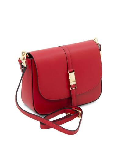 Tuscany Leather Nausica - Ruga leather shoulder bag Lipstick Red - TL141598/120