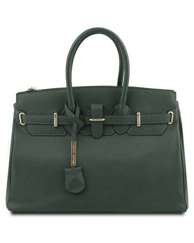 Tuscany Leather - TL Bag - Borsa a mano media con accessori oro Verde Foresta - TL141529/62